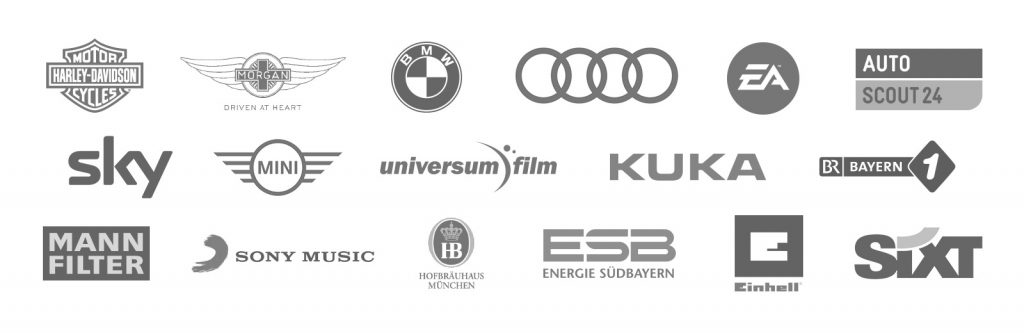 Kunden Werbeagentur München: Harley Davidson Logo, Morgan Logo, BMW Logo, Audi, Logo, EA Logo, Auto-Scout24 Logo, Sky Logo, MINI Logo, Universum Film Logo, KUKA Logo, Bayern 1 Logo, MANN Filter Logo, Sony Music Logo, Hofbräuhaus Logo, ESB Logo, Einhell Logo, Sixt Logo
