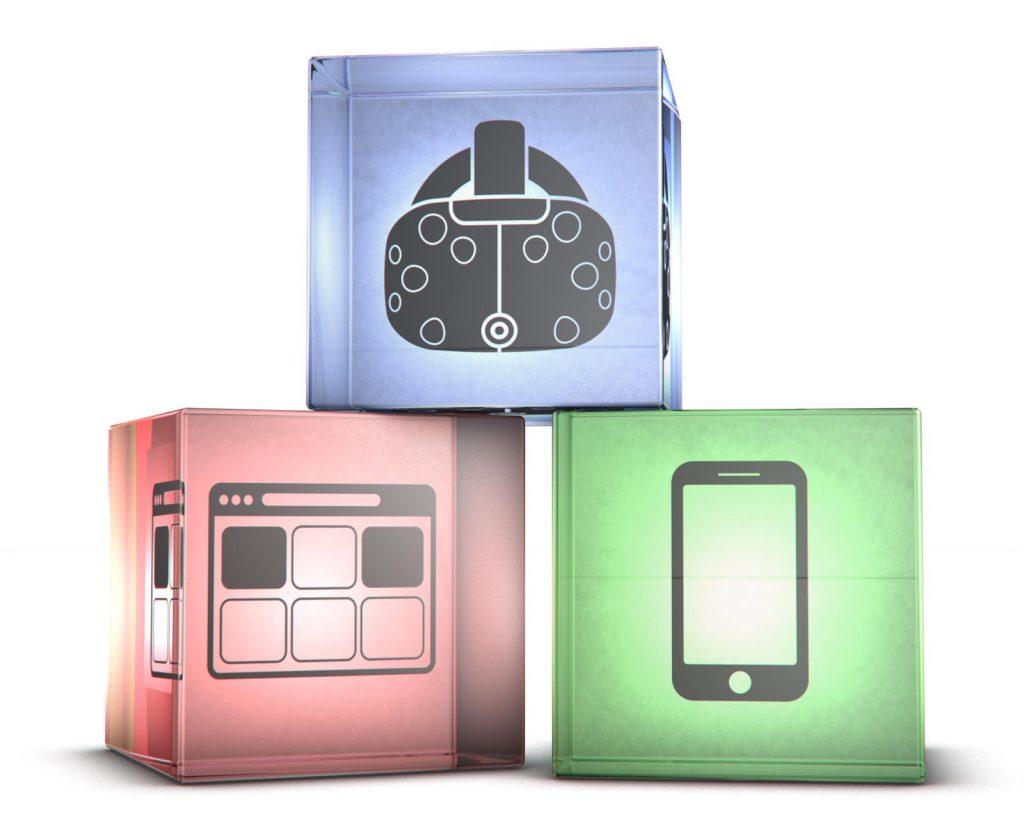 3 Glaswürfel im ersten HTC Vive Icon im zweiten Website Icon im dritten Smartphone Icon